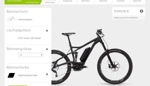 Flyer lanciert E-Bike-Konfigurator