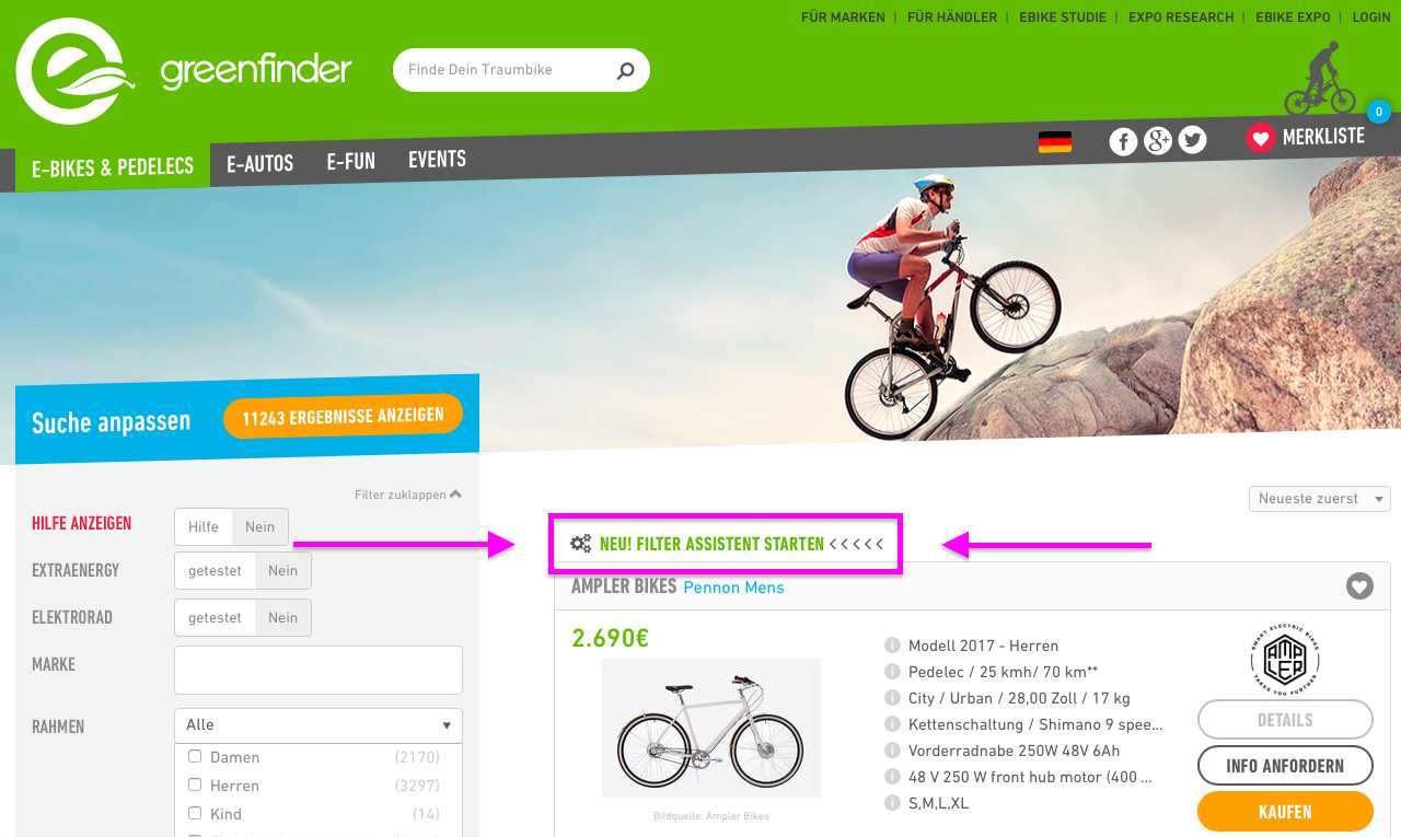 Greenfinder Filter-Assistent
